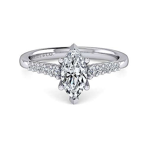 Gabriel - Reed 14k White Gold Marquise  Halo Engagement Ring