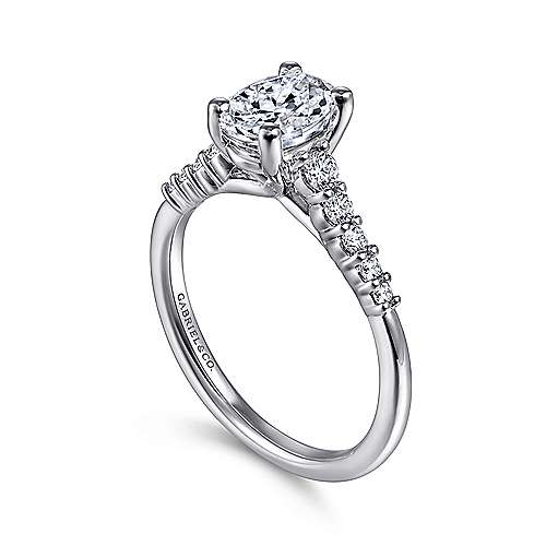 Reed 14k White Gold Oval Straight Engagement Ring angle 3