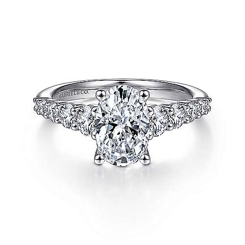 Reed 14k White Gold Oval Straight Engagement Ring angle 1