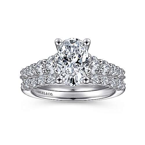 Reed 14k White Gold Oval Straight Engagement Ring angle 4