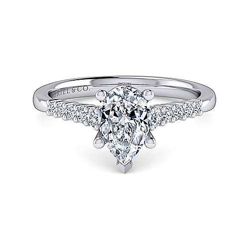 Gabriel - Reed 14k White Gold Pear Shape Halo Engagement Ring
