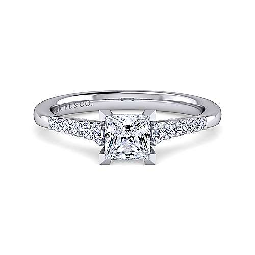 Gabriel - Reed 14k White Gold Princess Cut Straight Engagement Ring