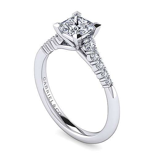 Reed 14k White Gold Princess Cut Straight Engagement Ring angle 3