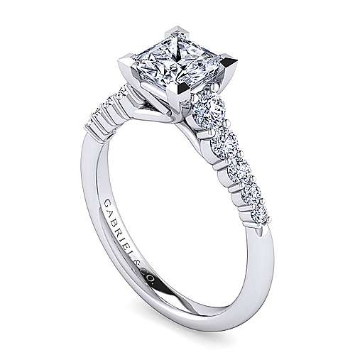 Reed 14k White Gold Princess Cut Straight Engagement Ring