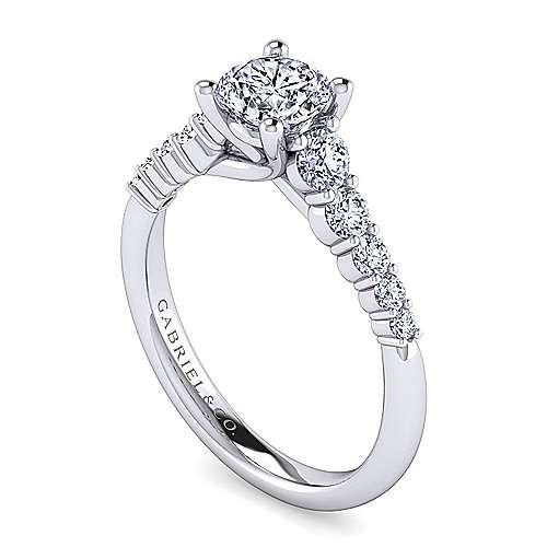 Reed 14k White Gold Round Straight Engagement Ring angle 3