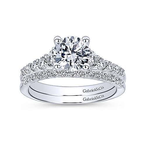 Reed 14k White Gold Round Straight Engagement Ring angle 4