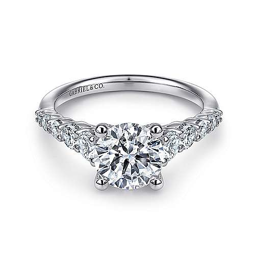 Reed 14k White Gold Round Straight Engagement Ring angle 1