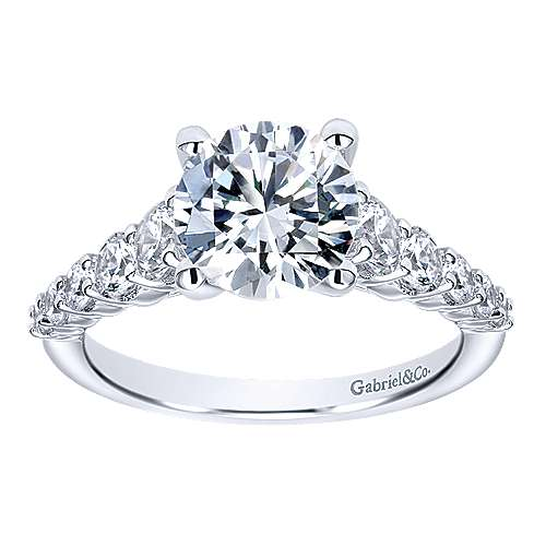 Reed 14k White Gold Round Straight Engagement Ring angle 5