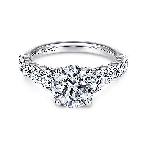 Gabriel - Reed 14k White Gold Round Straight Engagement Ring