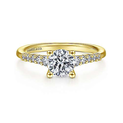 Gabriel - Reed 14k Yellow Gold Round Straight Engagement Ring