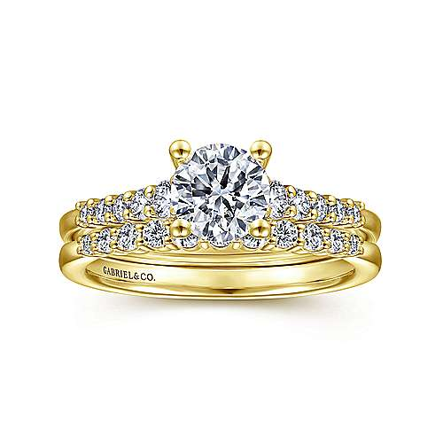 Reed 14k Yellow Gold Round Straight Engagement Ring angle 4