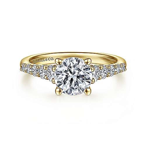 Reed 14k Yellow Gold Round Straight Engagement Ring angle 1
