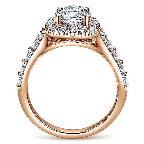 Reese 14k Rose Gold Round Halo Engagement Ring angle 2