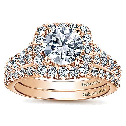 Reese 14k Rose Gold Round Halo Engagement Ring angle 4