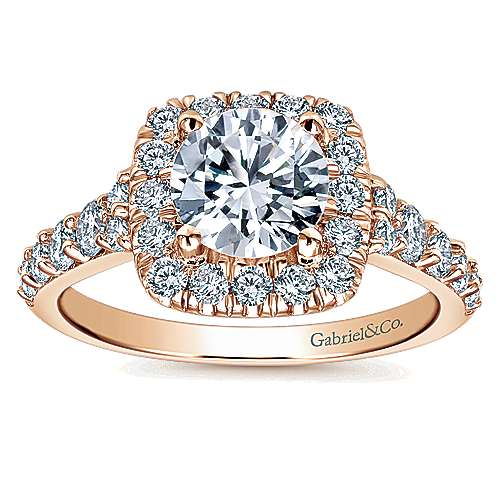 Reese 14k Rose Gold Round Halo Engagement Ring angle 5