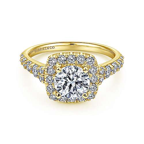 Gabriel - Reese 14k Yellow Gold Round Halo Engagement Ring