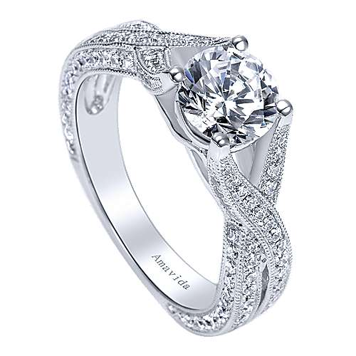 Reflect 18k White Gold Round Twisted Engagement Ring angle 3