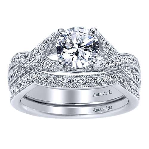 Reflect 18k White Gold Round Twisted Engagement Ring