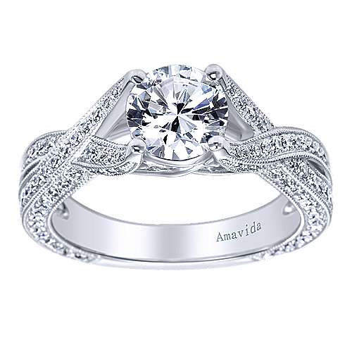 Reflect 18k White Gold Round Twisted Engagement Ring angle 5