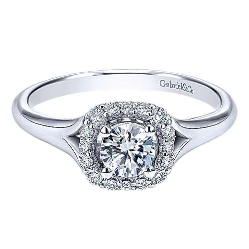 Gabriel - Regal 14k White Gold Round Halo Engagement Ring