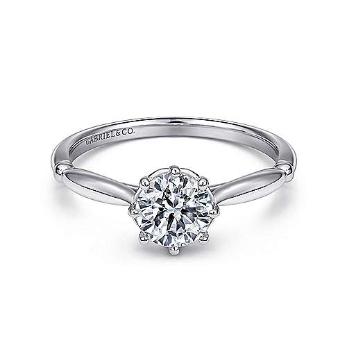 Regalia 18k White Gold Round Solitaire Engagement Ring angle 1