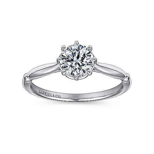 Regalia 18k White Gold Round Solitaire Engagement Ring angle 5