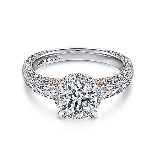 Gabriel - Regina 14k White And Rose Gold Round Straight Engagement Ring