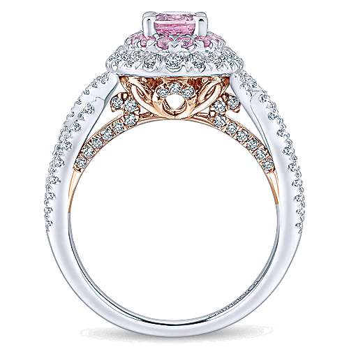 Reign 14k White And Rose Gold Oval Double Halo Engagement Ring angle 2