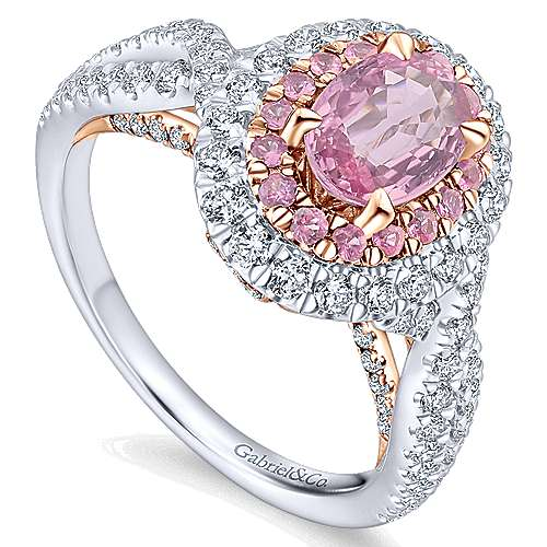 Reign 14k White And Rose Gold Oval Double Halo Engagement Ring angle 3