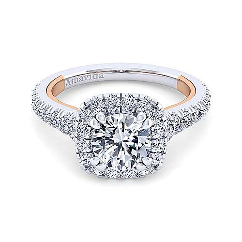 Gabriel - Reina 18k White And Rose Gold Round Halo Engagement Ring