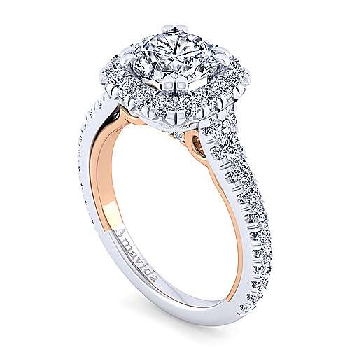 Reina 18k White And Rose Gold Round Halo Engagement Ring angle 3