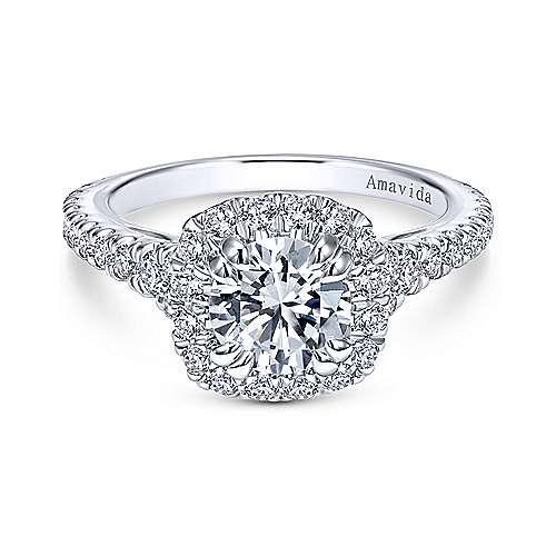 Gabriel - Reina Platinum Round Halo Engagement Ring