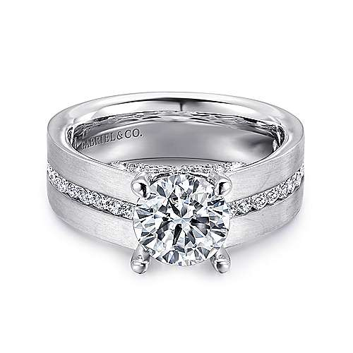 Gabriel - Remi 14k White Gold Round Straight Engagement Ring