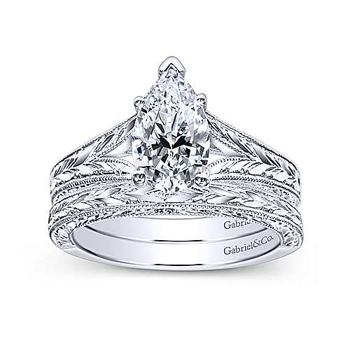 Remy 14k White Gold Pear Shape Split Shank Engagement Ring angle 4