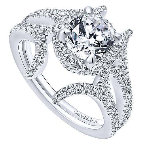 Rhea 14k White Gold Round Halo Engagement Ring