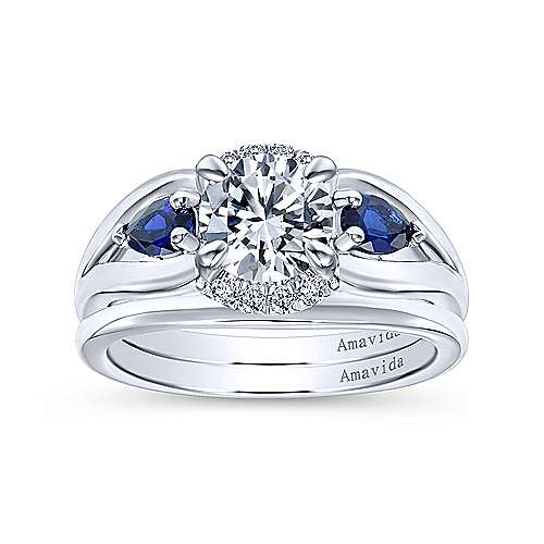 Ria 18k White Gold Round 3 Stones Engagement Ring angle 4