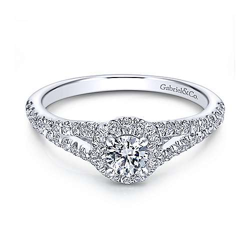 Gabriel - Ribbon 14k White Gold Round Halo Engagement Ring