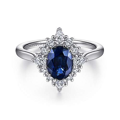 engagement ring gold earth blue sapphire ethical brilliant white rings side round