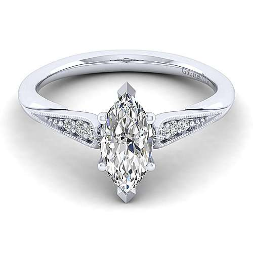 Gabriel - Riley 14k White Gold Marquise  Straight Engagement Ring
