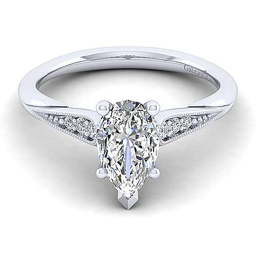 Gabriel - Riley 14k White Gold Pear Shape Straight Engagement Ring