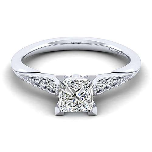 Gabriel - Riley 14k White Gold Princess Cut Straight Engagement Ring
