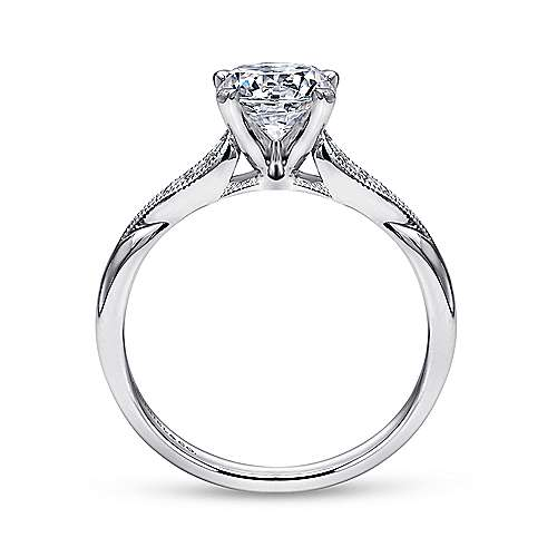Riley 14k White Gold Round Straight Engagement Ring angle 2