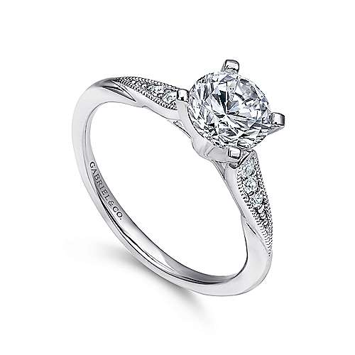 Riley 14k White Gold Round Straight Engagement Ring angle 3