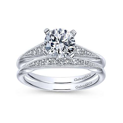 Riley 14k White Gold Round Straight Engagement Ring angle 4