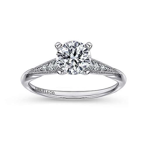 Riley 14k White Gold Round Straight Engagement Ring angle 5