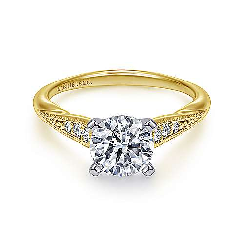 Gabriel - Riley 14k Yellow And White Gold Round Straight Engagement Ring