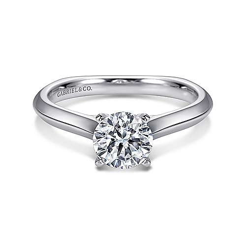 Gabriel - Rina 14k White Gold Round Solitaire Engagement Ring