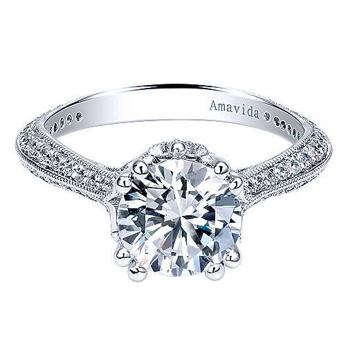Gabriel - Rio 18k White Gold Round Straight Engagement Ring