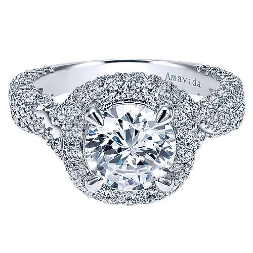 Gabriel - Rita 18k White Gold Round Halo Engagement Ring