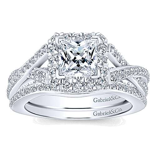 Riviera 14k White Gold Princess Cut Halo Engagement Ring